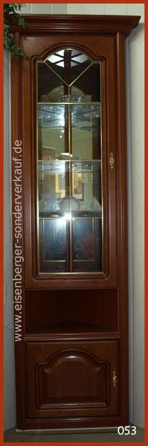 H:199cm B:/T:55cm Eck Vitrine Rustica, kirschbaumfarbig mit Beleuchtung