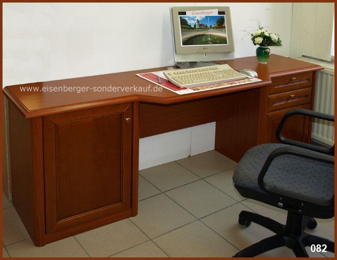 Schreibtisch Amica B:207cm H:73cm T:53cm nussbaumfarbig cognac