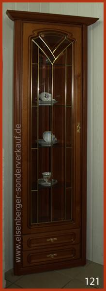 H:198cm B:/T:55cm Eck Vitrine Romantica, kirschbaumfarbig mit Beleuchtung
