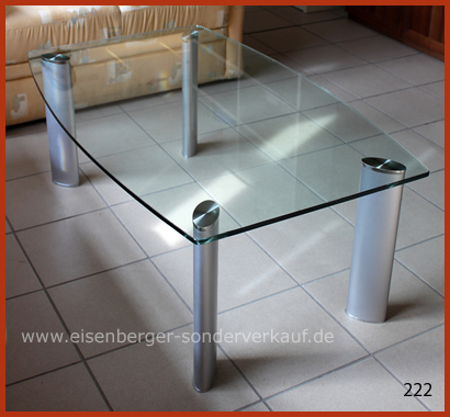 L:116cm B:72cm H:44,5cm Gestell Nickel Platte Glas