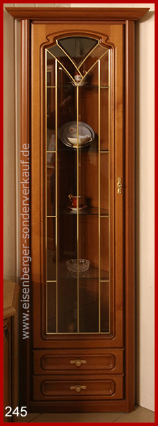 B:55/55cm H:198cm Eck Vitrine Romantica SV51E, nussbaumfarbig cognac