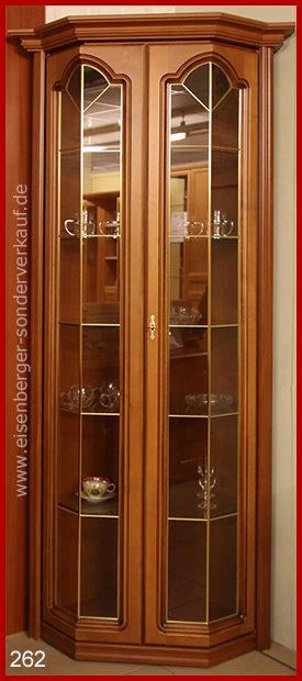 B:71/71cm H:199cm Eck Vitrine Rustica, nussbaumfarbig cognac